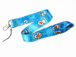 Discount apple badge holder - 2018 Cartoon lanyard Doraemon key lanyards id badge holder keychain straps for mobile phone Fast Shipping