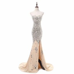 eb14e34a8f8 Real Photos Luxury Beads Diamond Mermaid Prom Dresses With Champagne Lining  Side Split Long Women Formal Evening Gowns