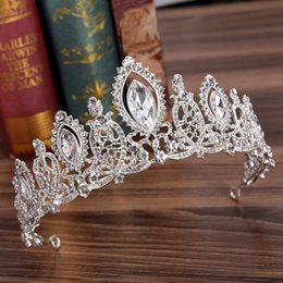 Royal blue cRown online shopping - 2918 Royal Crystals Wedding Crown Bridal Tiara Crown Clear Royal Blue Red Silver Clear Rhinestone Crown Wedding Accessories Cheap