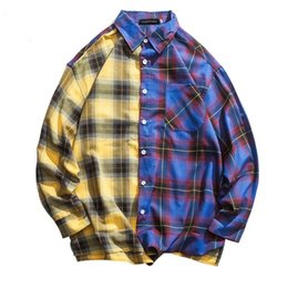 Mens patchwork plaid shirts online shopping - Mens Color Block Patchwork Plaid Pocket Long Sleeve Shirts Autumn Hip Hop Fashion Casual Streetwear