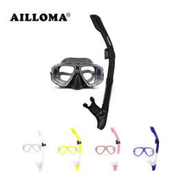AILLOMA Professional Scuba Diving Mask Tube Silicone Waterproof Anti Fog Underwater Snorkeling Diving Masks and snorkels Set on Sale