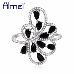 Women Black Ring Australia - Almei Leaf Rings For Women Female Ring with Black Stones Cubic Zirconia Gifts for the New Year Decorating Fashion Jewelry PJ101