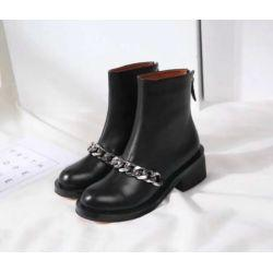 Luxury Chains Australia - LUXURY BLACK CALF LEATHER CHUNKY HEEL CHAIN ANKLE BOOTS Women Pumps Loafers Ballerina Flats Espadrilles Wedges Sneakers Boots Booties