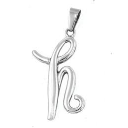 $enCountryForm.capitalKeyWord UK - FANSSTEEL Stainless steel men's women's punk vintage jewelry alphabet word letter H Pendant biker pendant gift for brothers FSP17W11
