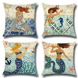 Wholesale Mermaid Sea Shell Pattern Cotton Linen Throw Pillow Cushion Cover Car Home Decoration Sofa Bed Decorative Pillowcase