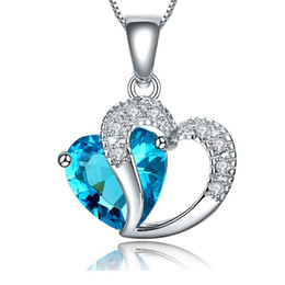 $enCountryForm.capitalKeyWord UK - Free Shipping wholesale Blue Purple Crystal Jewelry 925 Sterling Silver Beautiful Crystal Heart Pendant Necklace As Love
