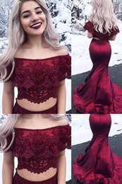 $enCountryForm.capitalKeyWord Canada - 2019 chic burgundy two piece prom dresses sexy bateau neck lace wine red sweep train formal evening party gowns wear