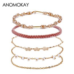 Gold bracelet fish desiGn online shopping - Original Design Simple Flower Pearl Rope Chain Link Women Bracelet Fashion Gold Link Wrap Bracelet Statement Jewelry Pulseira