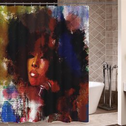 Wholesale Art Design Graffiti Art Hip Hop African Girl with Black Hair Big Earring with Modern Building Shower Curtain for Bathroom Decor