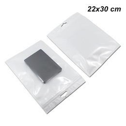 Jewelry Case Clear Plastic UK - 22x30 cm Front Clear Reusable Poly Plastic Packaging Pouch for USB Cable Hanging Zip Lock Phone Case Cover Storage Bag for Jewelry Jewellery
