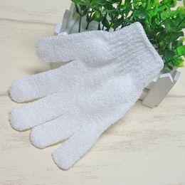 $enCountryForm.capitalKeyWord Canada - DHL EMS Free shipping white nylon body cleaning shower gloves Exfoliating Bath Glove Five fingers Bath Gloves
