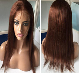 Skin Lace Human Hair Wigs NZ - Full Thin Skin Wig color#4 Virgin Malaysian Human Hair pu wig silky straight full silicone wig with baby hair perimeter free shipping
