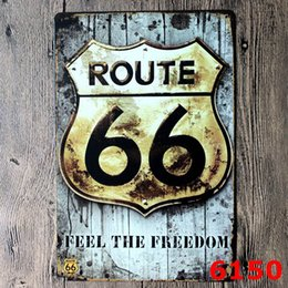 $enCountryForm.capitalKeyWord NZ - 100pcs Route 66 Design Vintage Style Iron Painting For Living Room Creative Decoration Tin Poster Create Atmosphere Tins Sign 20*30cm