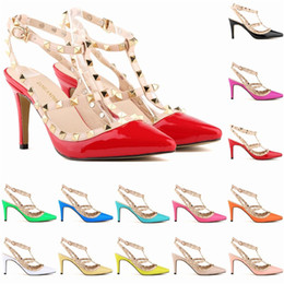 China Womens Banquet Party Wedding Single Shoes Ladies Sexy Pointed Toes Shoes Graduation Girls High Heels Stilettos Hee 9 cm Rivets 13 Colorful supplier white high heels graduation shoes suppliers