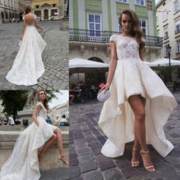 2250f858dfe8 2018 Stylish High Low Country Wedding Dresses with Pockets Custom Backless Illusion  Lace A-Line Cap Sleeve Short Front Long Back Bridal Gown