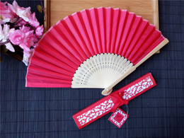 Silk wedding giftS online shopping - 2019 Several Colors Available Hands Fans Logo On Ribs Wooden Bamboo Hand Silk Wedding Fans Gift Box Arts and Crafts Wedding Favors