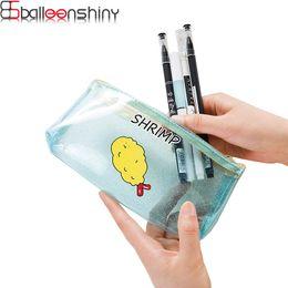 Discount pvc beds - BalleenShiny Lovely Candy Color Pencil Case Transparent Pvc Pencile Pen Organizer Holder Stationery Storage Bag