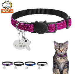 432602a2961d Gorgeous Quick Release Cat Puppy Tag Collar Set Personalized Nylon Dog  Collars Engraved Tags For Small Pets Kitten 1cm Width