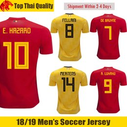 18465c9eb 2018 World Cup Belgium DE BRUYNE Soccer Jerseys MERTENS 18 19 EDEN HAZARD  Football Shirt KOMPANY Belgium FELLAINI ROMELU LUKAKU Jersey