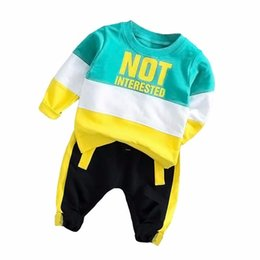 T Shirt Suit For Baby Girl UK - Spring Autumn Baby Boy Girl Clothing Set Cotton Kids Toddler Clothes Letter Sport Suit For Boy Infant Long Sleeve t-shirt+pants