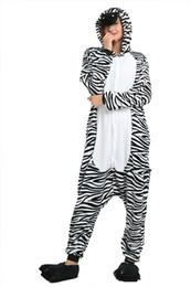 $enCountryForm.capitalKeyWord UK - Cartoon Zabra Pajamas for Unisex Black White Striped Long Sleeves Hooded Adults Home Wear Mascot Costumes Sleep Wear Night Party Wear Warm