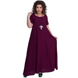 United Women Summer Sundress Plus Size Cotton Linen Splice Irregular Long Dress Korean Knit Dresses Ladies Batwing Robe Vestido 5xl 6xl Dresses