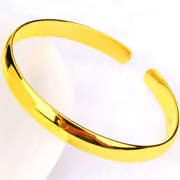 Yellow Gold 18k Bangle Australia - Smooth Cuff Bangle Plain 18k Yellow Gold Filled Simple Style Classic Womens Bangle Bracelet Gift Jewelry 60mm Dia