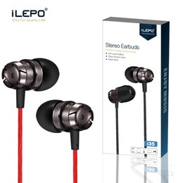 Wholesale iLepo Stereo headset Wired Earphones Sports Earbuds mm jack Headset in ear headphones with Remote and Mic for i6 plus cell phone