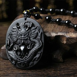 Black Bead Pendants Australia - Natural obsidian Natural Black Obsidian Sun Dragon Necklace Pendant Hand-Carved Lucky Amulet Necklace Pendant Men's Jewelry With Beads Chain