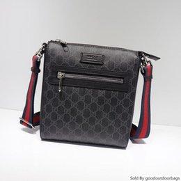 Wholesale Best All Black Stripe Red Black Leather Men Message Bag Handbag Gold Letter Hardware Shoulder Bags 523599