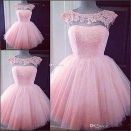 $enCountryForm.capitalKeyWord Australia - Cute Short Pink Homecoming Prom Dresses Puffy Tulle Little Pretty Party Dresses Cheap Appliques Capped Sleeves Girl Formal Gowns