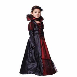 Venta al por mayor de Los trajes de los niños gótica de Halloween del vampiro para los niños de la princesa cosplay Fiesta de Carnaval vestidos largos vampiro Cosplay