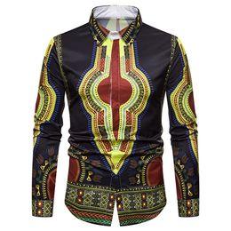 Wholesale African Shirts Australia - 2019 New Arrival Men Shirts Men's Dashiki Autumn Luxury African Print Long Sleeve Dashiki Shirt Top Blouse camisa masculina#3