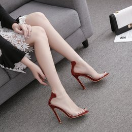 Open Back Wedding Dress Designers Australia - Sexy red sequins women wedding dress high heels shoes fashion open toe transparent designer gladiator sandals