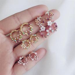 $enCountryForm.capitalKeyWord Australia - Baroque Style Flower Earring Women Lady Elegant Colorful Petals Diamond Earrings Fine Jewelry Best Gift For Girlfriend T338