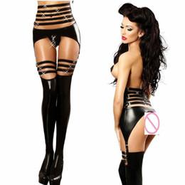 c8d1fd0273 Sexy Black PU Wet Look Faux Leather Jumpsuit PVC Latex DS Pole dance  Catsuit Clubwear Women Open Crotch Bodysuit Fetish Costumes