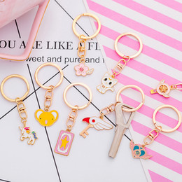 korean girls cartoon NZ - Key female south Korean creative cute cartoon young girl heart key ring ring lovely simple key chain jewelry