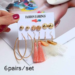 For Alloys Australia - 6 Pairs lot Gold Alloy Geometric Stud Earring Sets for Women Punk Big Circle Vintage Long Tassel Party Bridal Earrings Jewelry