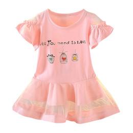 Princess T Shirts For Kids NZ - 2019 Summer Girls Dress Kids Clothes Short Ruffle Sleeve T-Shirt Lace Dress Toddler Princess baby girl clothes for 1-4 Years