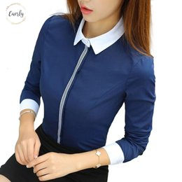 Wholesale navy blue chiffon blouses online – New Women Blouse Fashion Cotton Shirt Spring Formal Elegant Office Ladies Work Wear Plus Size Tops Navy Blue White