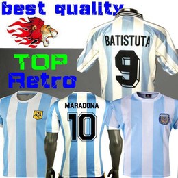 Wholesale Retro Version Argentina home Soccer jersey Messi Maradona CANIGGIA Quality Football Shirt Batistuta