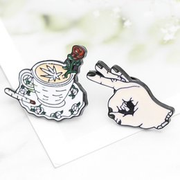 $enCountryForm.capitalKeyWord NZ - Rose Coffee Cup OK Gesture Punk Brooch Metal Enamel Pin Creative Miniature Ornament Decorative Badge Collection Jewelry Gift Collar Decor