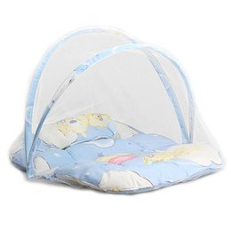 Wholesaler Baby Suits Australia - Baby Bedding Crib Netting Folding Baby Music Mosquito Nets Bed Mattress Pillow Three-piece Suit For 0-2 Years Old Children
