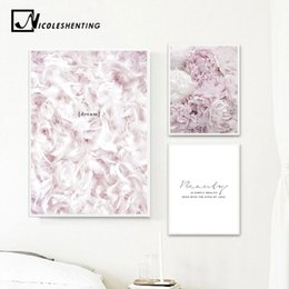 $enCountryForm.capitalKeyWord NZ - Scandinavian Style Pink Flower Feather Canvas Posters and Prints Wall Art Painting Nordic Decoration Pictures Modern Home Decor