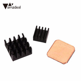 Discount radiators wholesale - amzdeal New 3PCS Adhesive Brass Copper+Aluminum Heat Sinks Radiator For Raspberry PI 2 3 Aluminum heat sink