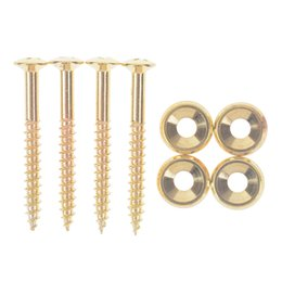 guitar neck plates NZ - New 4pcs Guitar Neck Joint Plate Screw Bushings Ferrules For Neck Mounting With Screws Black - Chrome Sliver- Gold