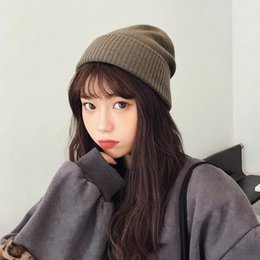 Woman Earmuffs Australia - Pure color warm wool hat women winter vintage Korean soft knit hat with matching earmuffs tide thickened Japanese hat
