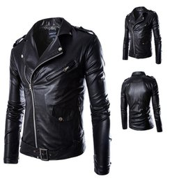Wholesale zipper men s fashionable jacket resale online – Spring Autumn and Winter Korean S XL XL Personality Handsome Men Pu Leather Jacket Coats Fashionable Punk Fan Vehicle Clothing