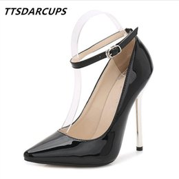 Dress Ttsdarcups New 13cm Metal Heel Model And Show Sexy Ankle Strap Pump  Large Size High-heeled Shoes Simple Fashion Women s Shoes b6a35edbe983