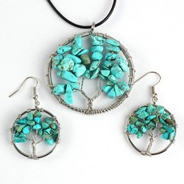 wire wrapped tree life 2019 - Kraft-beads Silver Plated Tree of Life Pendant Green Turquoises Stone Necklace Drop Earrings Wire Wrapped Jewelry Sets c